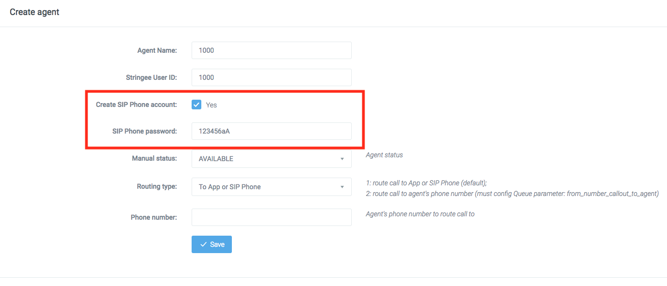 Create SIP Phone account for PCC API