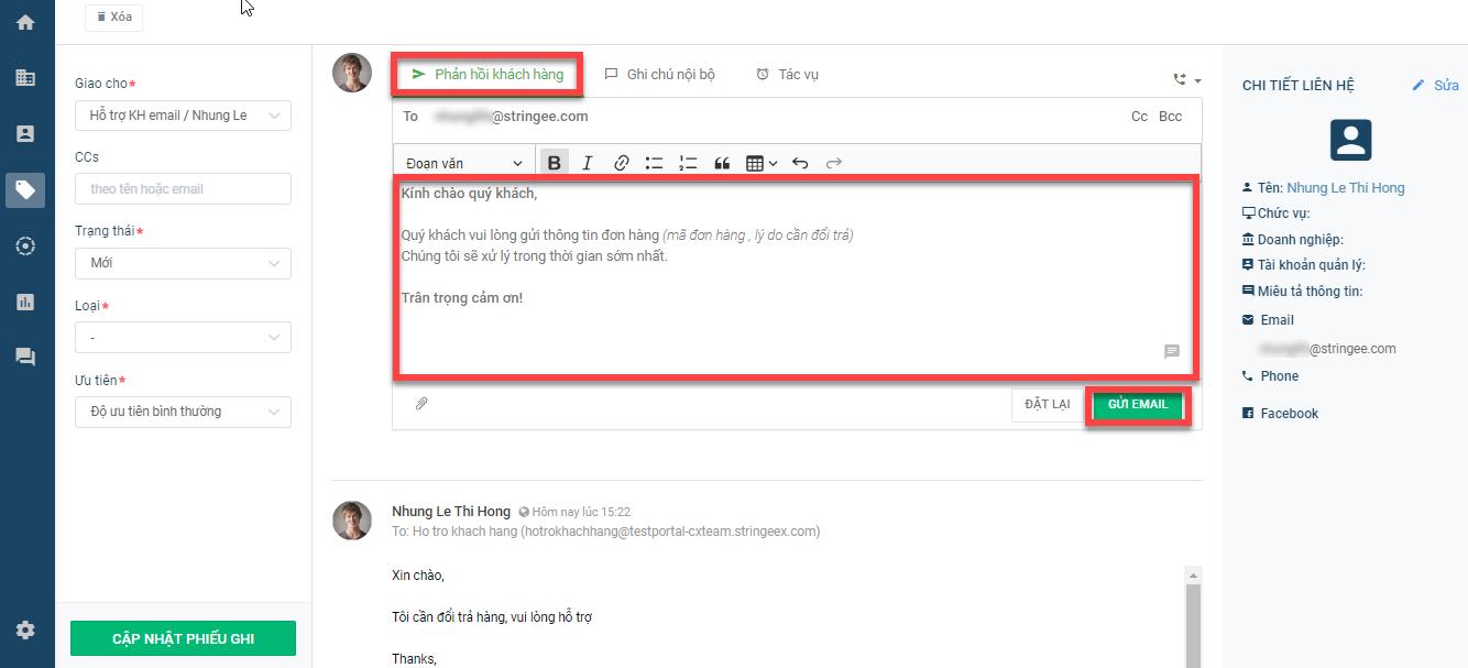 Cho phép agent phản hồi email
