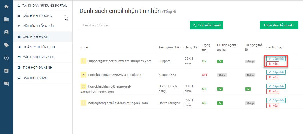 Quản lý các email